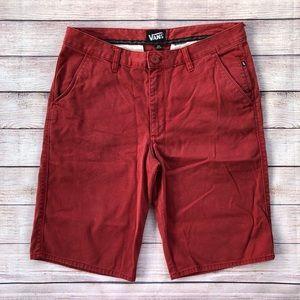 Vans 32 Men's Red Shorts Skate 100% Cotton